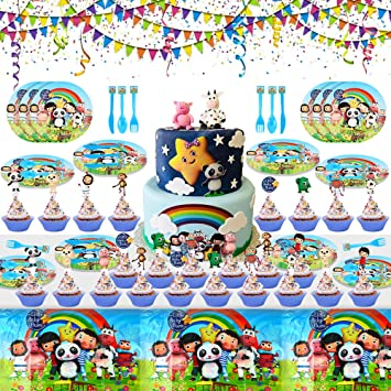 Banners Plates Little Baby Bum Balloons Forks Tablecloth Including Spoons 104PCS Little Baby Bum Party Decorations Knifes Little Baby Bum Party Xmas Party Supplies for Kids Cake Toppers
