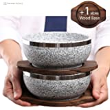 KoreArtStory Dolsot-Bibimbap Stone Bowls 32-Oz(Set of 2 + Wood base 1 More + Bibimbap Recipe) Cooking Korean Soup and Food