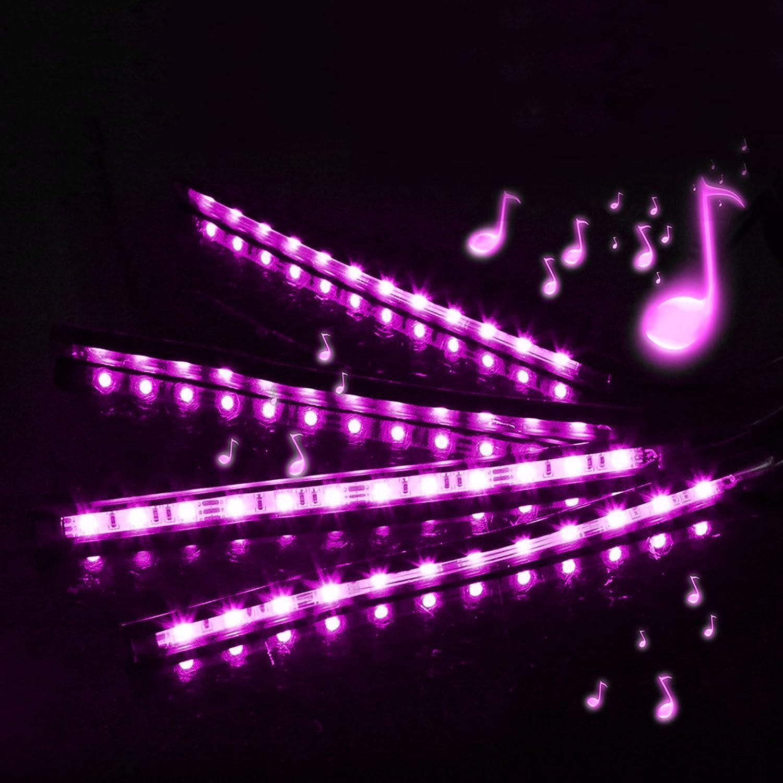 DC 12V Car LED Strip Lights Top Notch 4 Pieces Multi-Color Car RGB LED Light Strip Under Dash Lighting Kit Music Car Interior Decorative Accent Lights w//Sound Active Function Remote Control