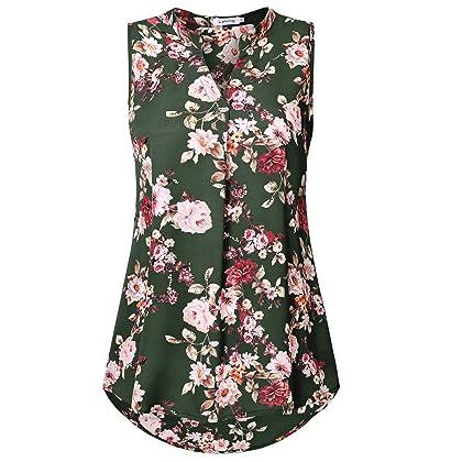 c27ec00e8b1cc Lyking Women s Henley V Neck Sleeveless Curved Hem Chiffon Blouse Shirts  Tank Tops(M
