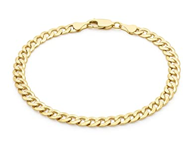 Carissima Gold Unisex 9 ct Yellow Gold 6 mm Diamond Cut Flat Curb Chain Bracelet Gfbj3i