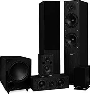 Fluance Elite Series Surround Sound Home Theater 5.1 Channel Speaker System Including Three-Way Floorstanding, Center Channel, Rear Surround Speakers and a DB10 Subwoofer - Black Ash (SX51BR)