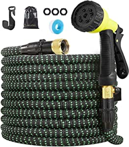 HIYUTOY Garden Hose Expandable Hose - Heavy Duty Flexible Leakproof Hose-10-Pattern High-Pressure Water Spray Nozzle & Bag & Plastic Holder No Kink Tangle-Free Pocket Water Hose