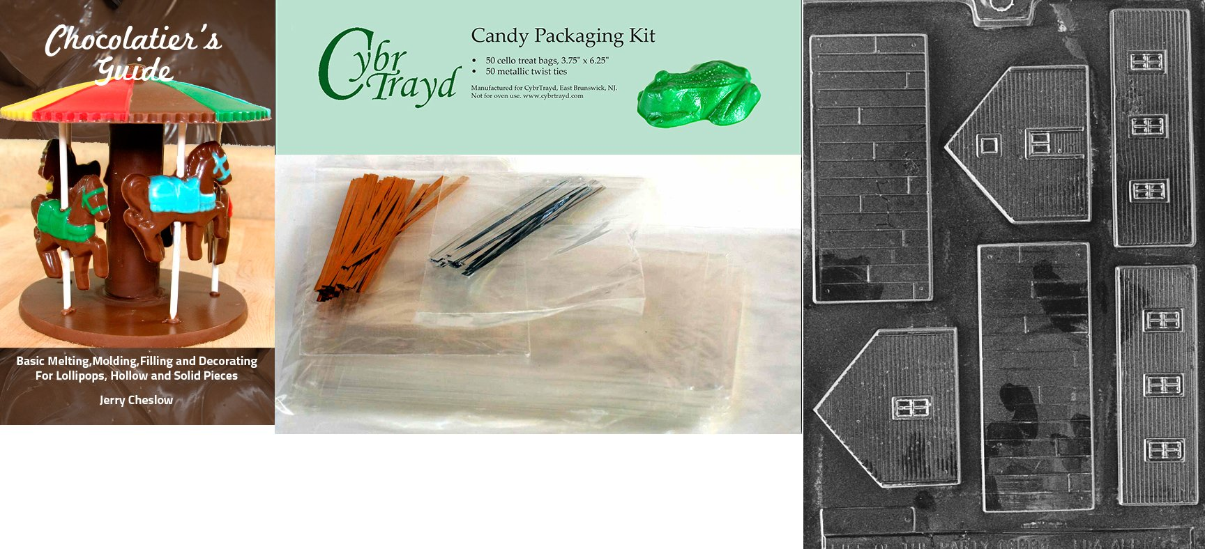 Cybrtrayd ''School'' Miscellaneous Chocolate Mold with Chocolatier's Bundle, Includes 50 Cello Bags, 25 Gold and 25 Silver Twist Ties
