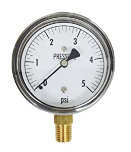 Kodiak Controls KC25-5# Low Pressure Gauge 5 PSI