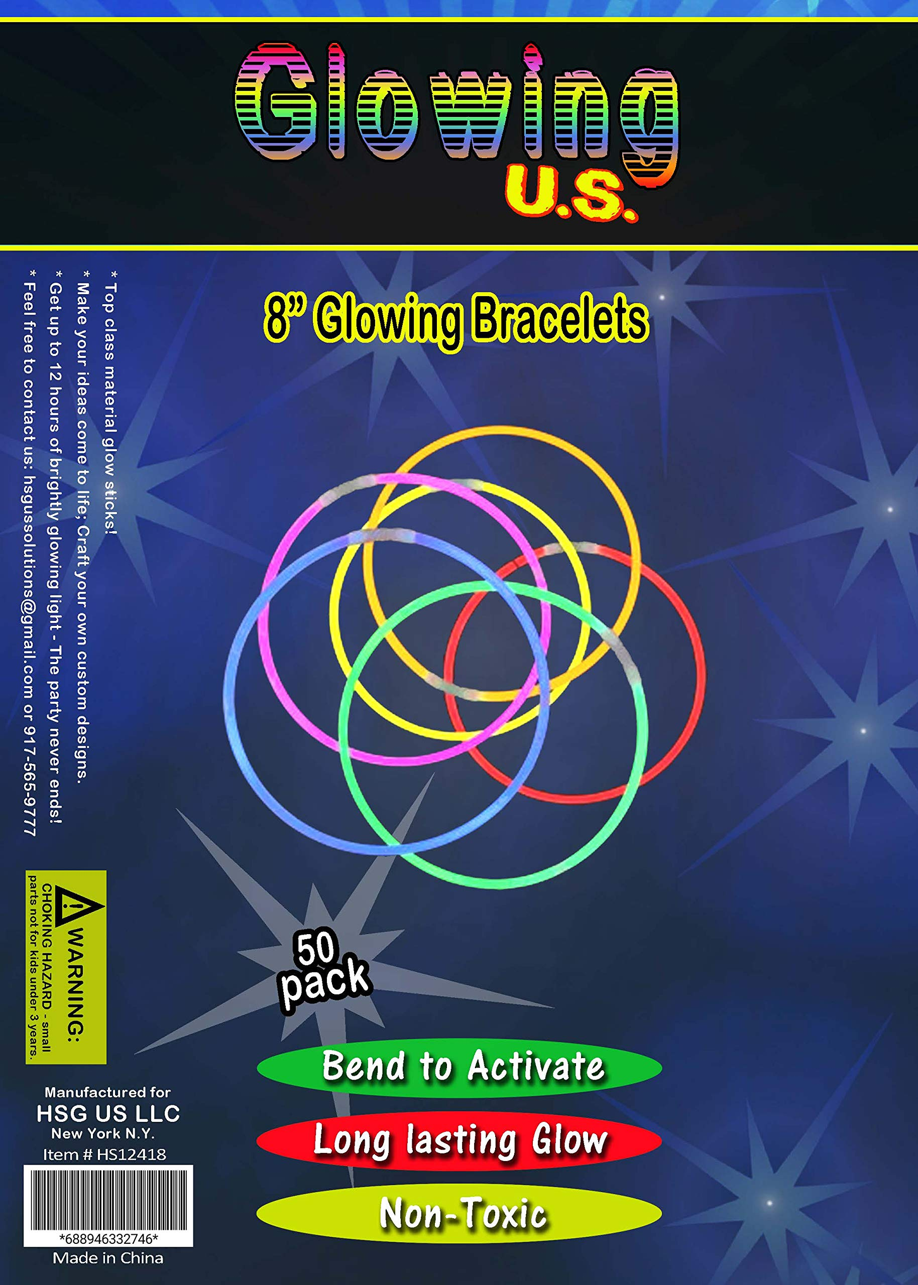 150 Ultra Bright Glow Sticks - Total 300 Pcs - 8'' Necklaces And Bracelets Glow Stick With Connectors - Bulk Party Pack Ultra Bright Glowsticks - 10 Hour Duration - Mixed Colors In 3 Tubes by Glowing U.S. inc (Image #5)