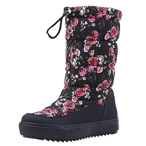 64b4890004b9b Shenji Scarpe Donna Invernali - Stivali da Neve Con lo Zip la larghezza  Gambale Adattabile H7624