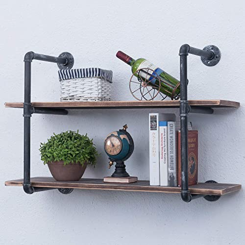 Industrial Pipe Shelves with Wood 2-Tiers,Rustic Wall Mount Shelf 36.2in,Metal Hung Bracket Bookshelf,DIY Storage Shelving Floating Shelves