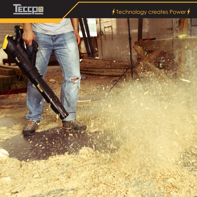 TECCPO 18V 8750 l//min leichtes Akku Laubbl/äser 9000-15000rpm Drehzahlregelung TDAB01G inklusive 2 * 2.0 Ah Lithium-Batterie