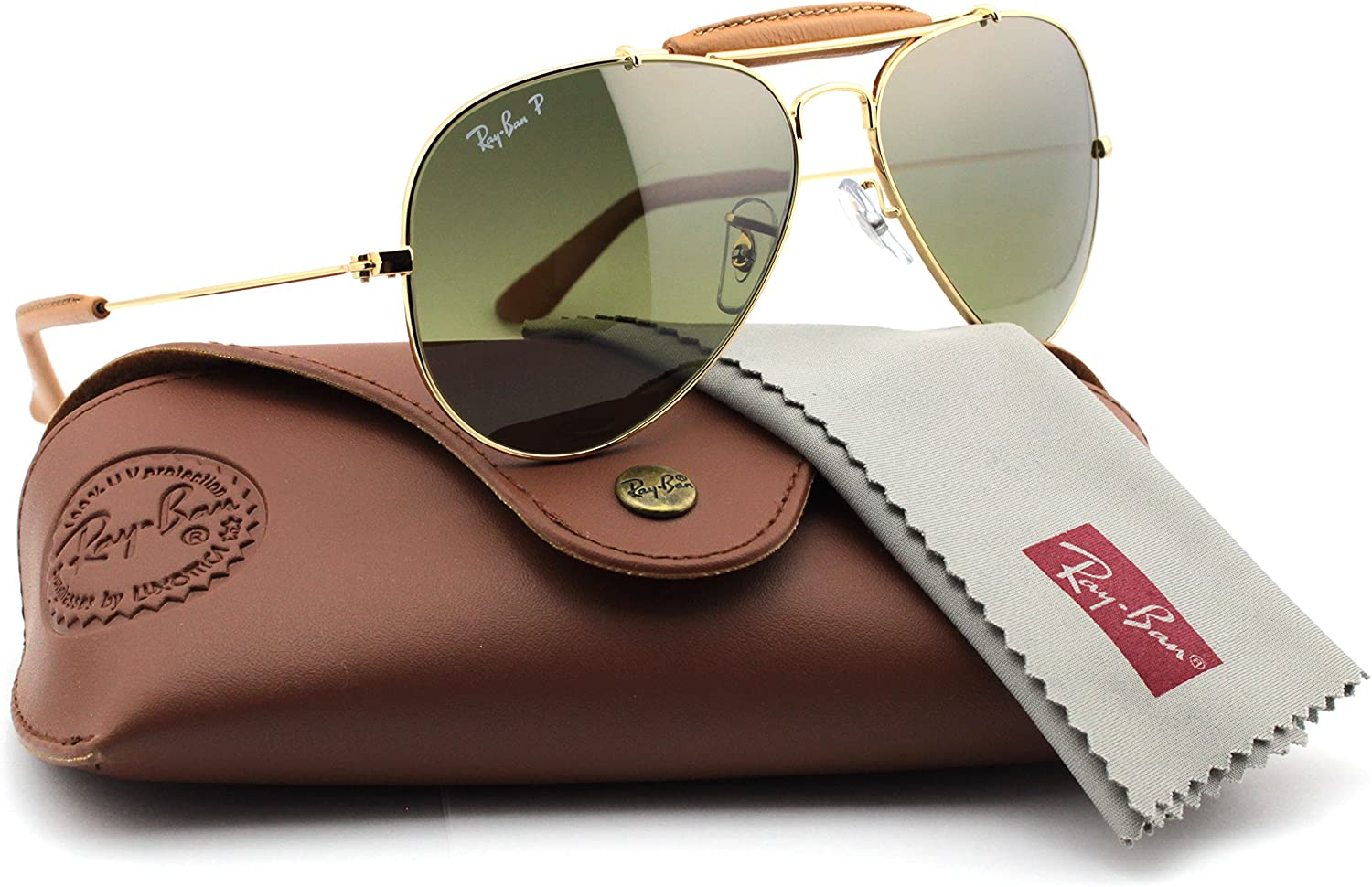 ray ban aviator gold polarized green