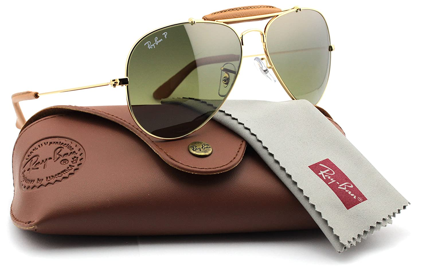 bfe2835bfdc4b Amazon.com  Ray-Ban RB3422Q 001 M9 OUTDOORSMAN CRAFT Gold Frame   Polarized  Green Lens 58mm  Clothing