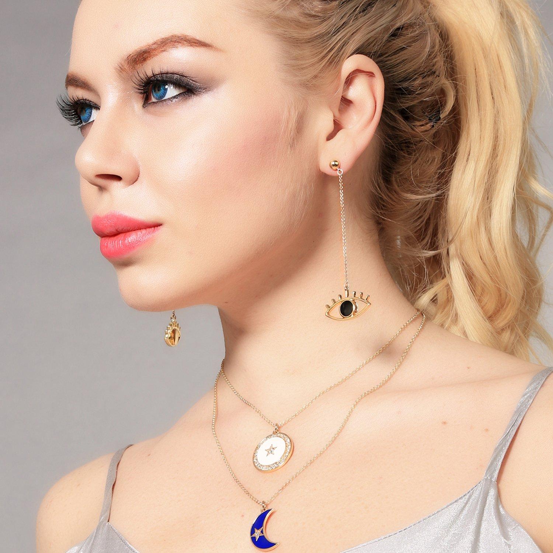 Miss Kiss Gold Eyes Black Pupil Pendant Long Chain Earrings
