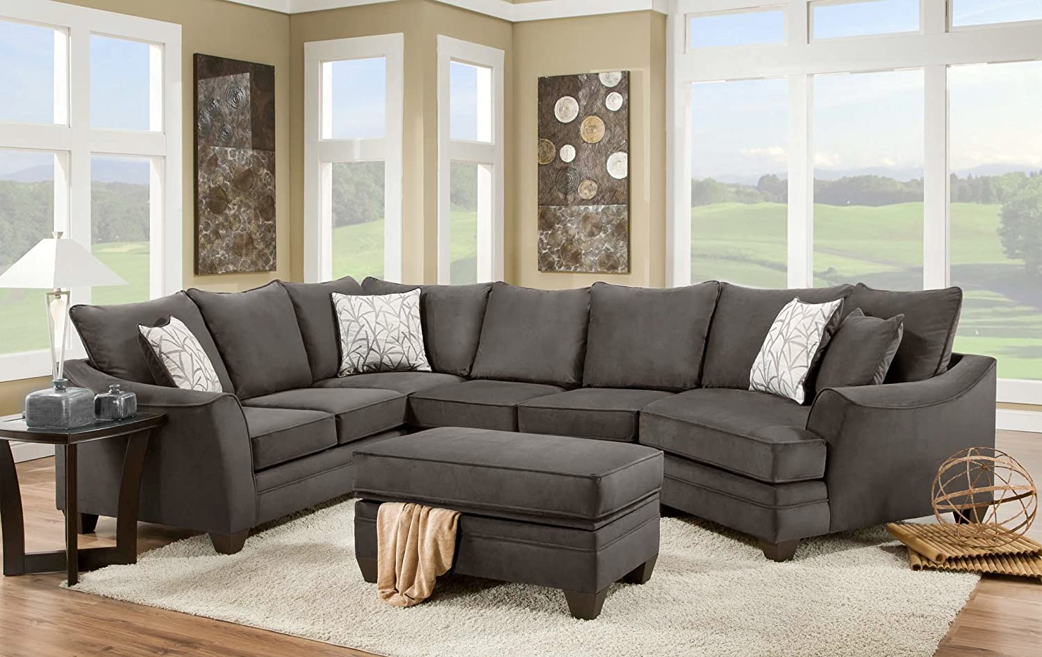 Amazon.com: Chelsea Home Furniture Cupertino 3 Piece Sectional, Flannel  Seal: Kitchen U0026 Dining