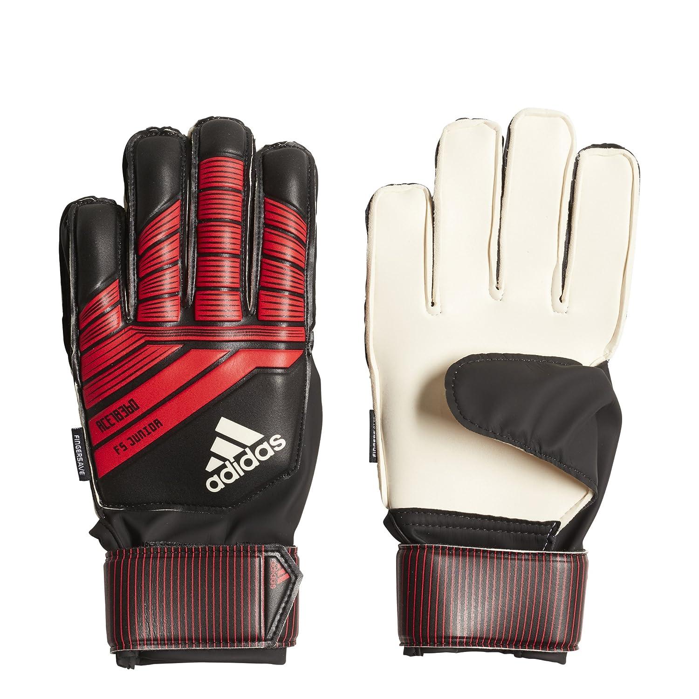 Adidas Predator Fingersaveジュニアサッカー手袋 B07894K5CM Size 7|ブラック/レッド ブラック/レッド Size 7