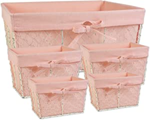 DII Z01915 Chicken Wire Baskets Antique White for Storage Removable Fabric Liner, Assorted Set of 5, Blush, 5 Piece