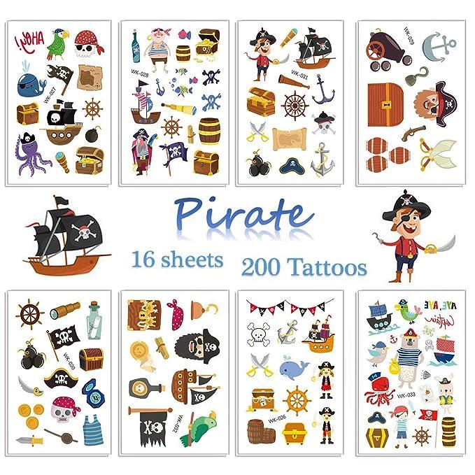 SZSMART Pirata Tatuajes Temporales para Niños Pirata Tatuajes ...