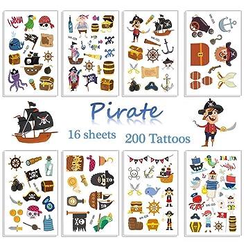 SZSMART Pirata Tatuajes Temporales para Niños Pirata ...