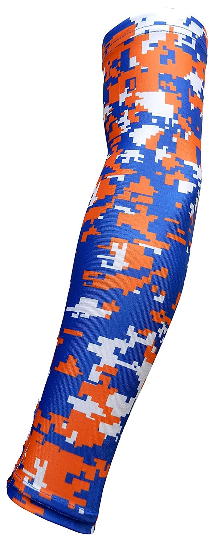 Moisture Wicking Compression New Royal Blue Orange White Digital Camo Arm Sleeve