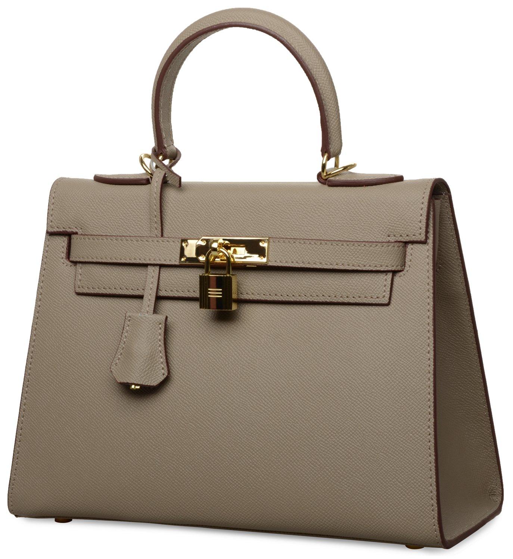Women's Padlock Handbag Genuine Leather Taiga Top Handle Satchel Bag Cherish Kiss(28CM, Taupe) by Cherish Kiss (Image #2)