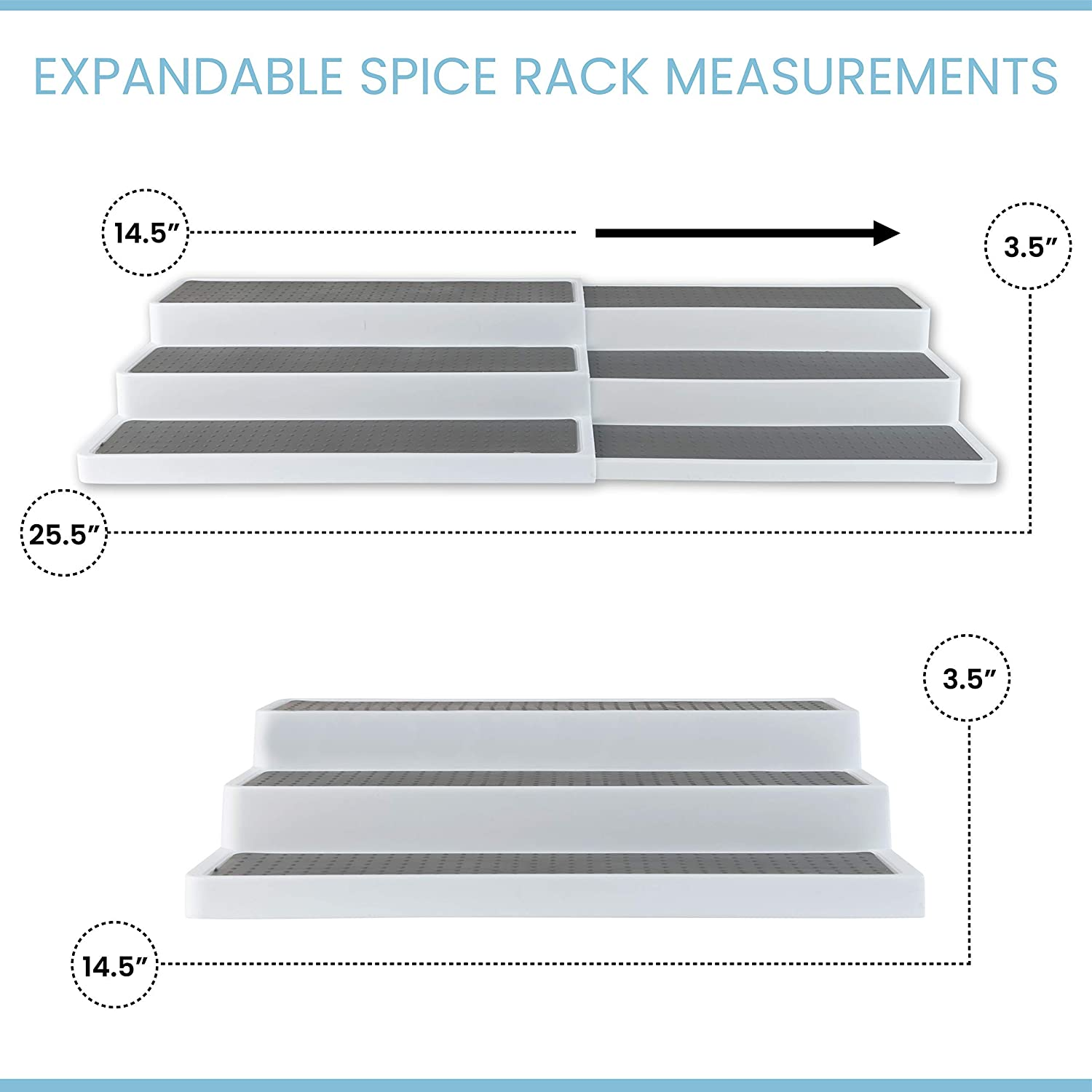 Homeries Spice Rack 3-Tier 2 Pack - Modern Design Waterproof and Non Skid Shelf Kitchen Organizer for Pantry Cabinet or Countertop Use: Home Improvement