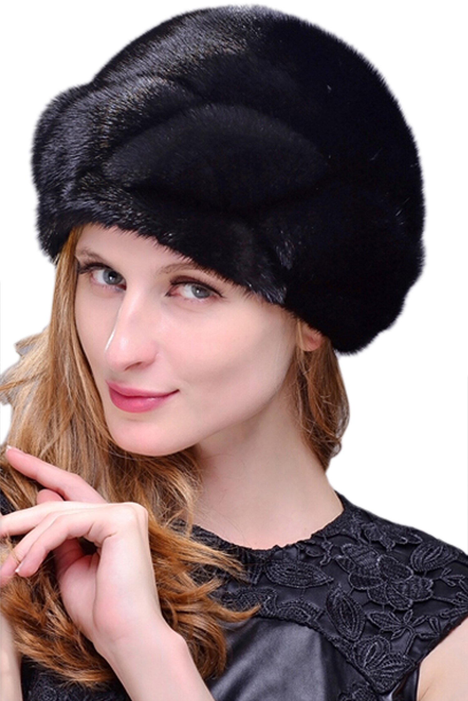 Easting Whole Set of Mink Fur Hat For Women New Designer (Black)