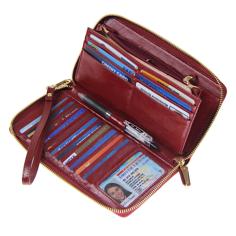 Women RFID Blocking Wallet Wax Genuine Leather Zip Around Clutch Large Travel Purse Wine Red