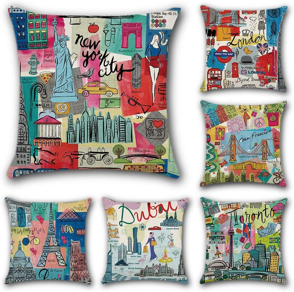 JOTOM 6 Pack Funda de Almohada para Cojín Lino y Algodón Cuadradas,Decorativas para Sofa,Cama,Silla 45 x 45 cm (Ciudad de Dibujos Animados): Amazon.es: Hogar