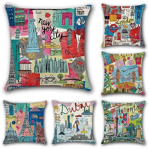 JOTOM 6 Pack Funda de Almohada para Cojín Lino y Algodón Cuadradas,Decorativas para Sofa,Cama,Silla 45 x 45 cm (Ciudad de Dibujos Animados)