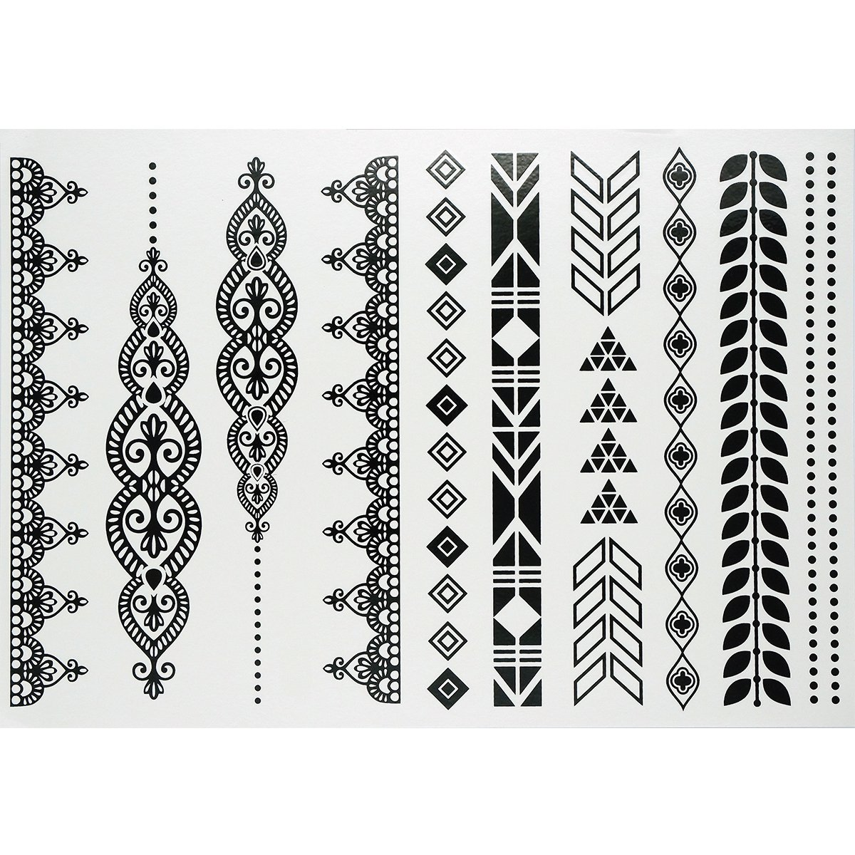 GIFT!!Tastto 6 Sheets Henna Body Paints Temporary Tattoos Black Lace Stickers for Girls and Women with GIFT by Tastto (Image #8)