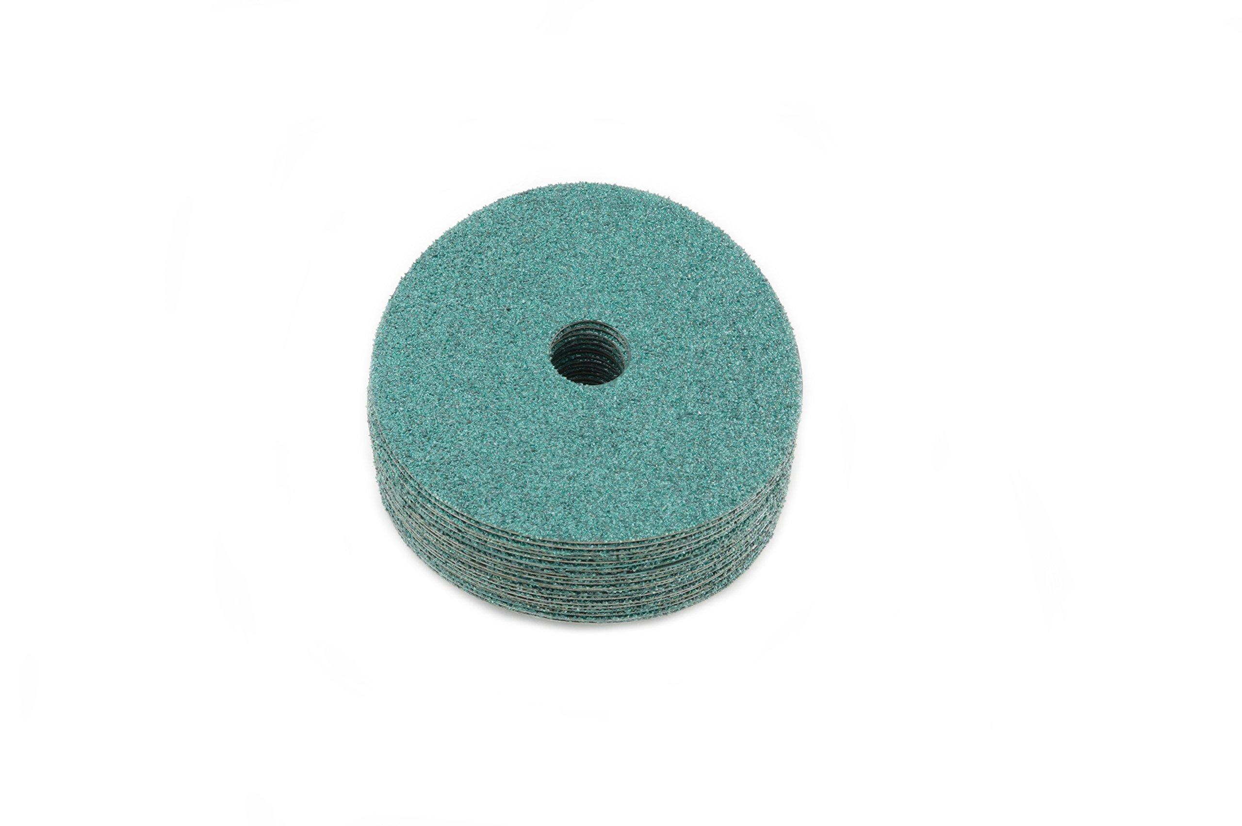 Sungold Abrasives 16961 Excella 24 Grit Green Ceramic Fiber 20/Box 4-1/2'' x 7/8'' Center Hole Center Hole Sanding Discs