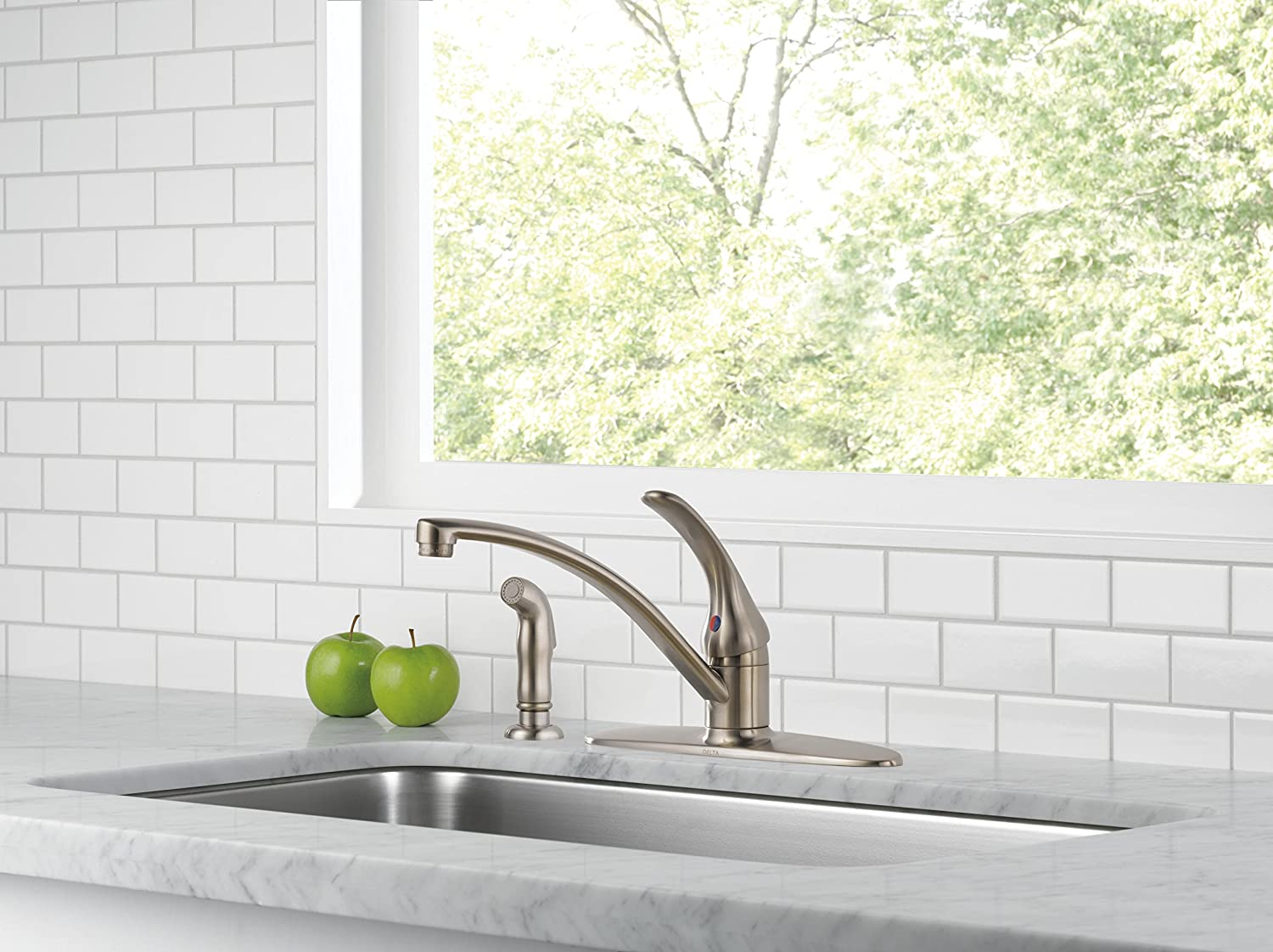 Delta Faucet Foundations Single-Handle Kitchen Sink Faucet, Chrome B4410LF