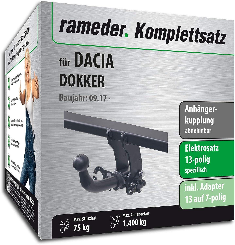 113432-10868-2 Anh/ängerkupplung abnehmbar 13pol Elektrik f/ür Dacia DOKKER Rameder Komplettsatz