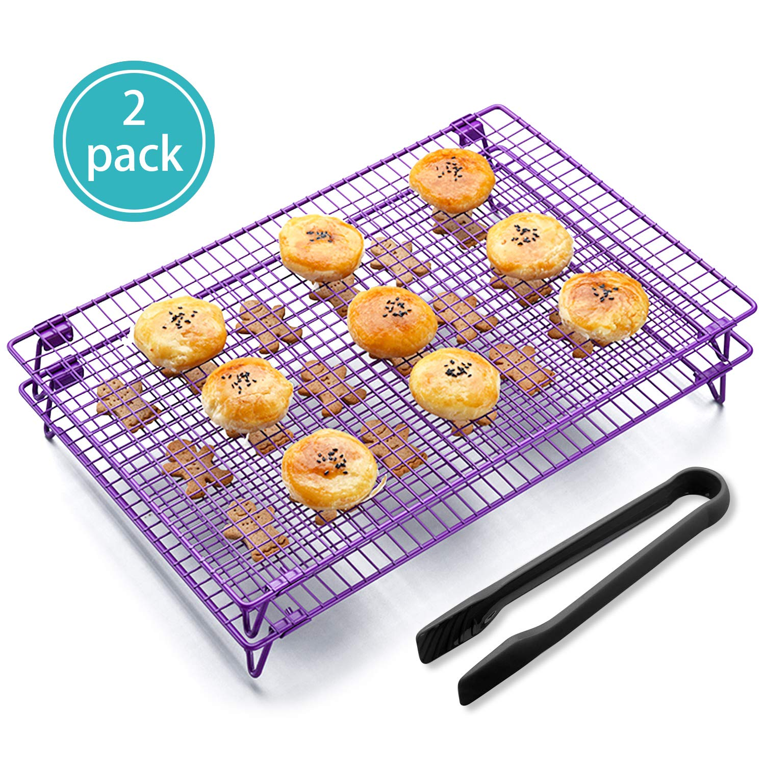 KALREDE Cooling Rack Folding Baking Rack Pack of 2 - Wire Non-Stick Cookie Cooling Racks Bonus a Plastic Food Tong for Cookie,Bread,Cake or Baked Foods - Baking Accessories ( 17 X 11 Inches,Purple) by Kalrede