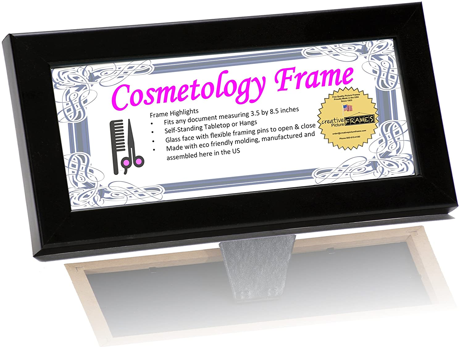 amazoncom creativepf 85 by 35 inch black license frames for cosmetology professionals state board license holder displays home kitchen