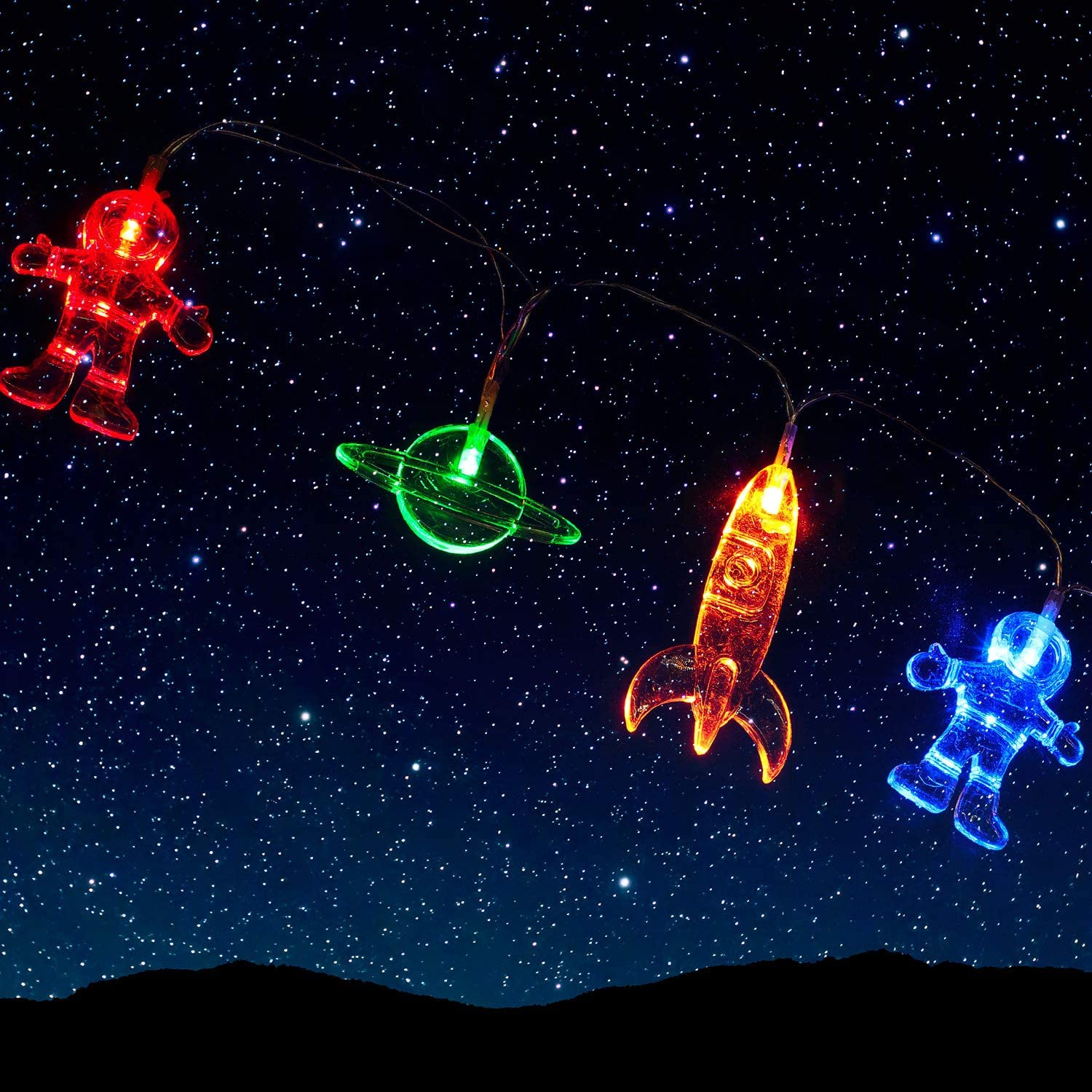 30 LED Children's Room LED String Light Astronaut Spaceship Rocket Pendants Holiday Party Lights Outerspace Room Decor 14.7 Feet Light for Kids Room Decor Birthday Party or Garden Patio (Colorful)