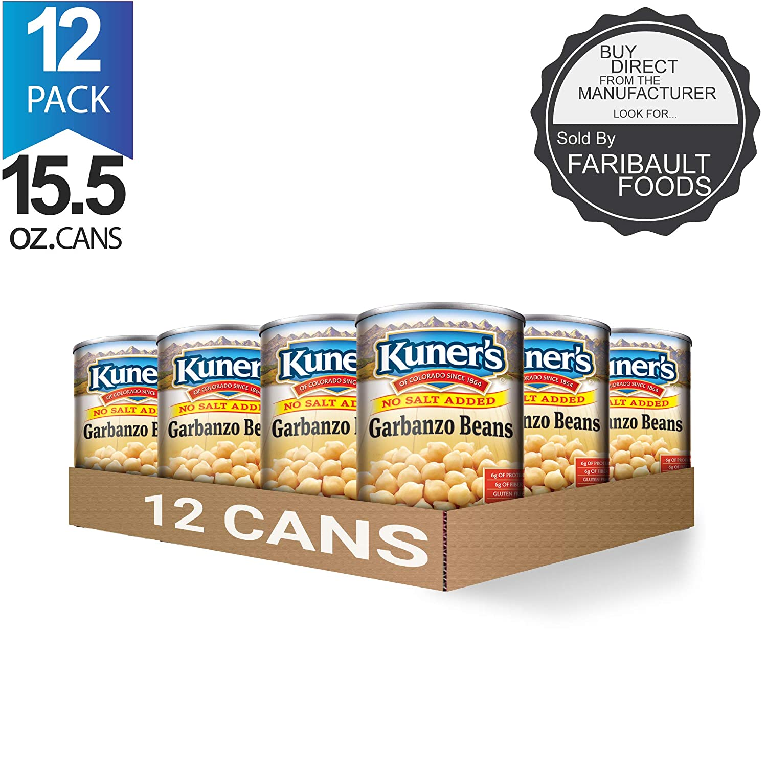 Kuner's • Canned Garbanzo Beans, (12 Pack), No Salt Added Chickpeas, Vegan, Non-GMO, Natural Gluten-Free Bean, Sourced and Packaged in the USA, 15 Ounce Can