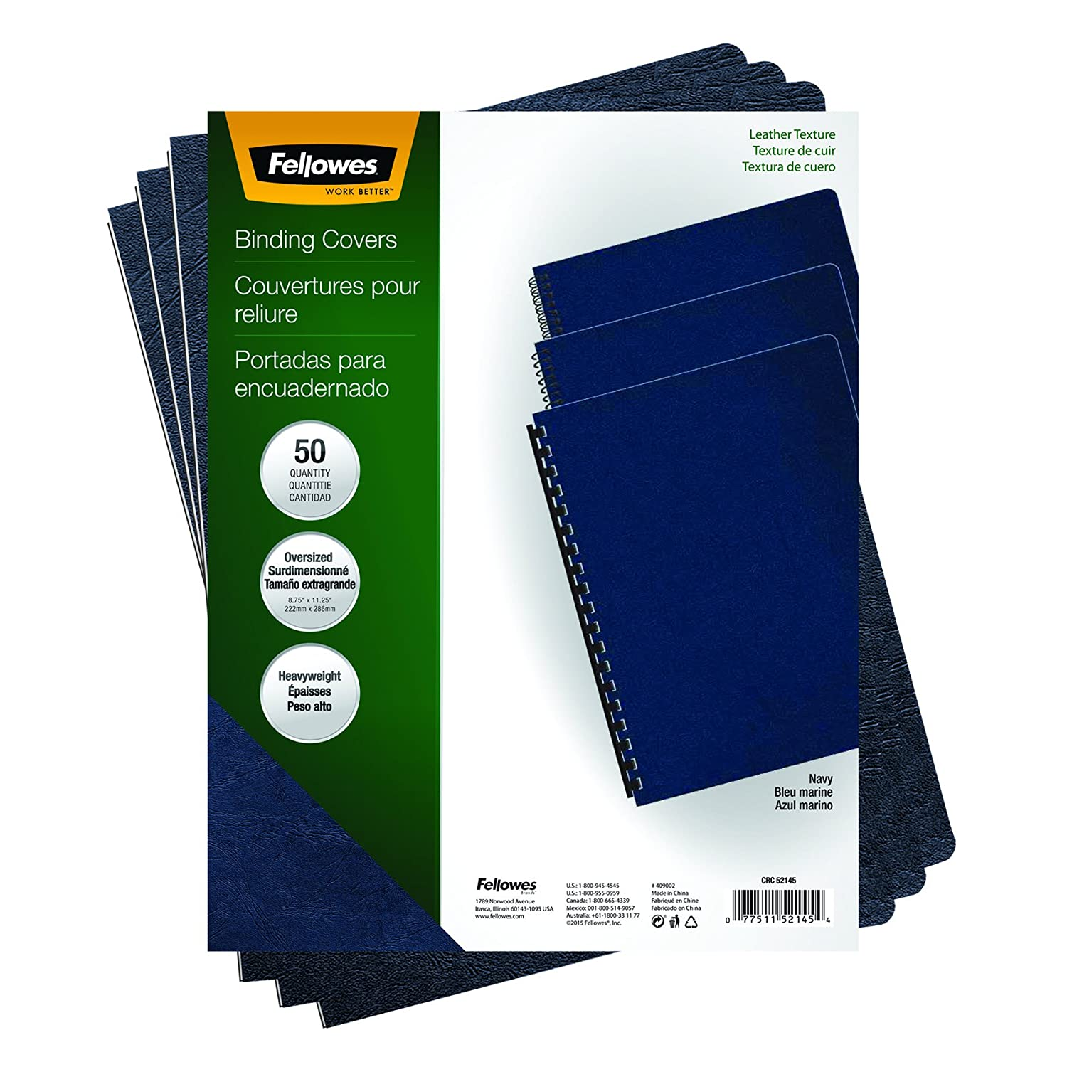 Fellowes Executive Presentation Cover, 11-1/4-Inch x 8-3/4-Inch, 50 Per-Pack, Navy (52145) Office Supplies