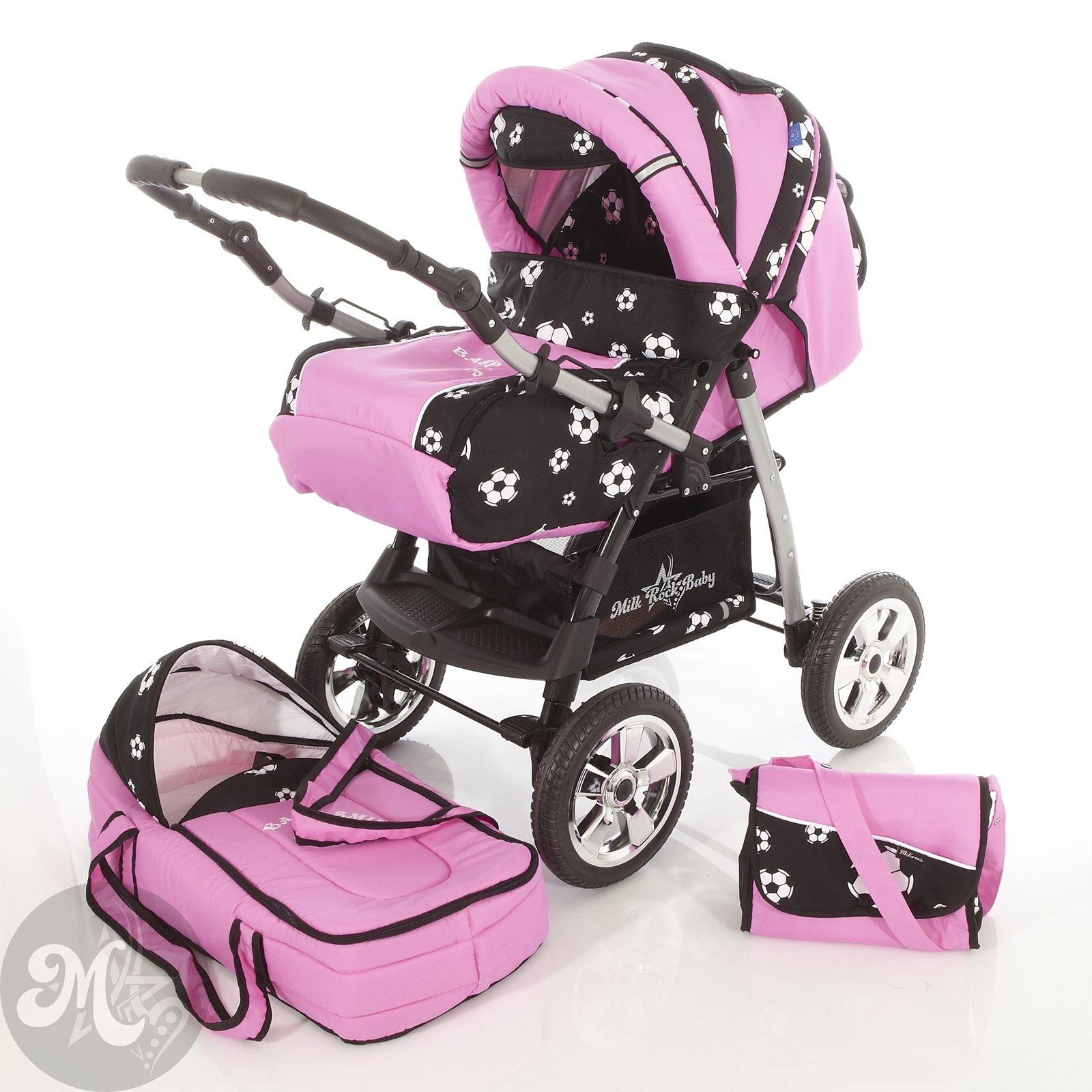 Milk Rock Baby Star Cruiser 2 in 1 Pram Combi Stroller & Pushchair (rain cover, mosquito net, 30 colors) 27 Rose Soccer