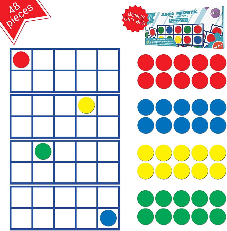 magnetic ten frames math manipulative for kindergrteners