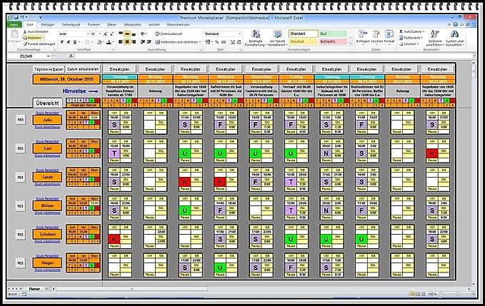 elektronischer digitaler dienstplaner monatsplan schichtplaner