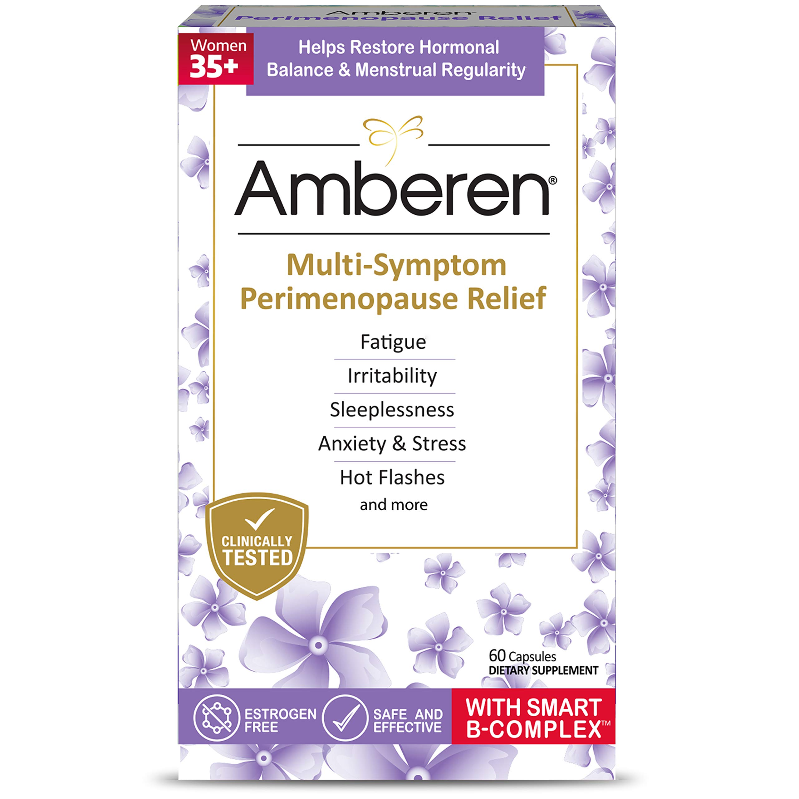 Amberen Peri: Safe Multi-Symptom Perimenopause Relief | Helps Restore Menstrual Regularity & Hormonal Balance | Relieves Fatigue, Stress, Hot Flashes, Anxiety & More - 1 Month Supply