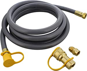 BISupply Natural Gas Grill Hose, 12ft - Flexible Gas Line Quick Connect Gas Hose 3/8in Female Flare to 1/2in Male Flare