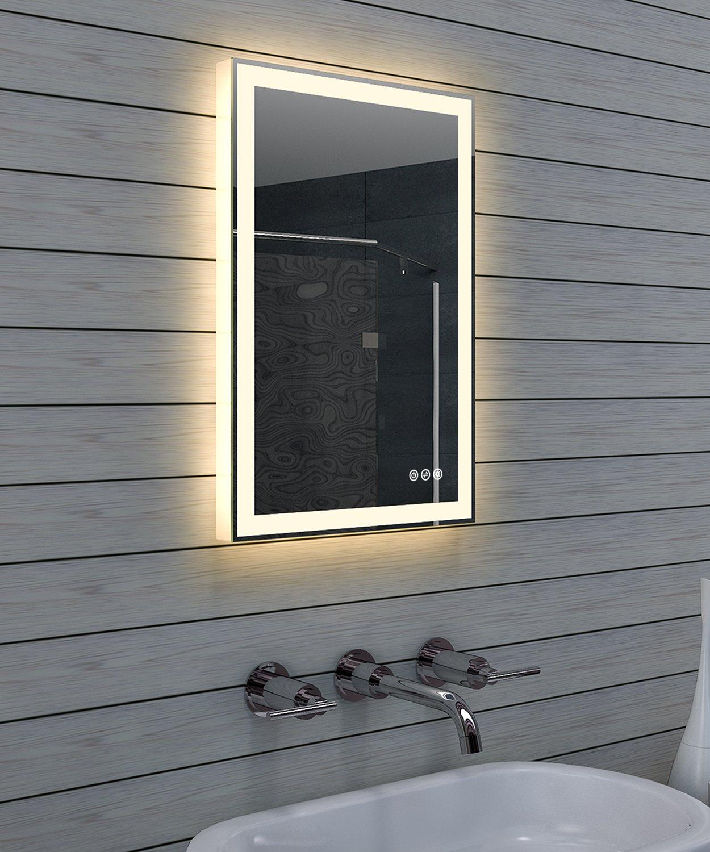 Lux-aqua Design Badezimmerspiegel mit Dimmer, Warm- und Kaltweiß und Touchschalter 40 x 60 cm