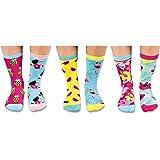 """United Oddsocks - Confezione da 6 calzini spaiati, motivo \""""Tropicool\"""", da donna, misure da 37 a 42"""