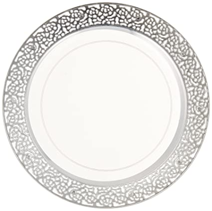 Inspiration Clear with Silver Lace Rim 7u0026quot; Heavyweight Plastic Dessert Salad Plates ...  sc 1 st  Amazon.com & Amazon.com | Inspiration Clear with Silver Lace Rim 7