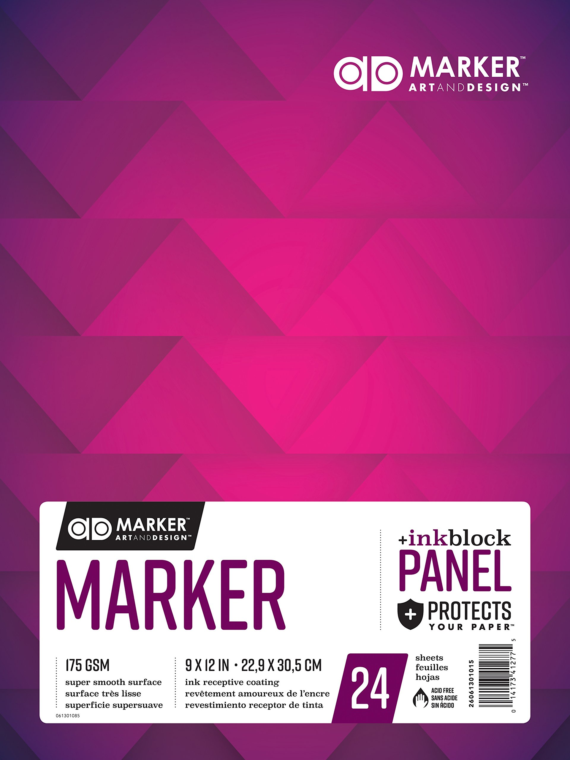 Chartpak AD Marker Paper Pad with Ink Block Panel, 175 GSM, 9 x 12'', 24 Sheets/Pad, White, 1 Each (26061301015)