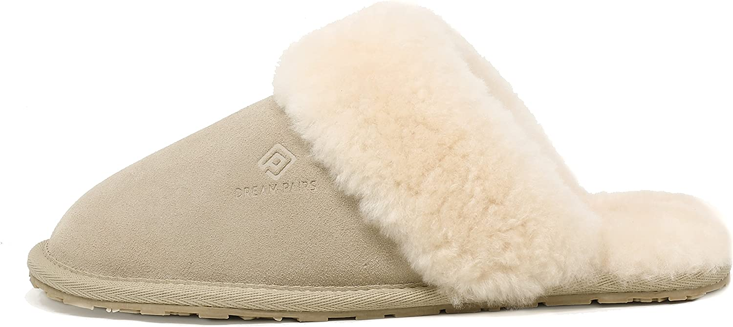 DREAM PAIRS Women/'s Sheepskin Slip On House Slippers Indoor Outdoor Winter Shoes