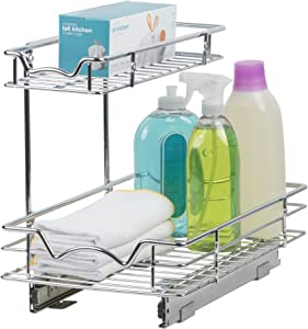 "SlideOut Cabinet Organizer – Perfect for Vanity and Kitchen Under Sink Cabinet Pull Out Shelf - Two Tier RollOut Sliding Shelves - 11""W x 21""D x 14-1/2""H, Requires At Least 12"" CabinetOpening"
