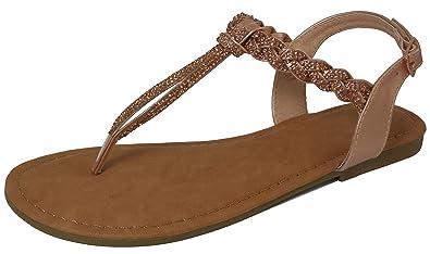 d90834dab4514 Cambridge Select Women s Open Toe T-Strap Thong Braided Strappy Crystal  Rhinestone Slingback Flat Sandal