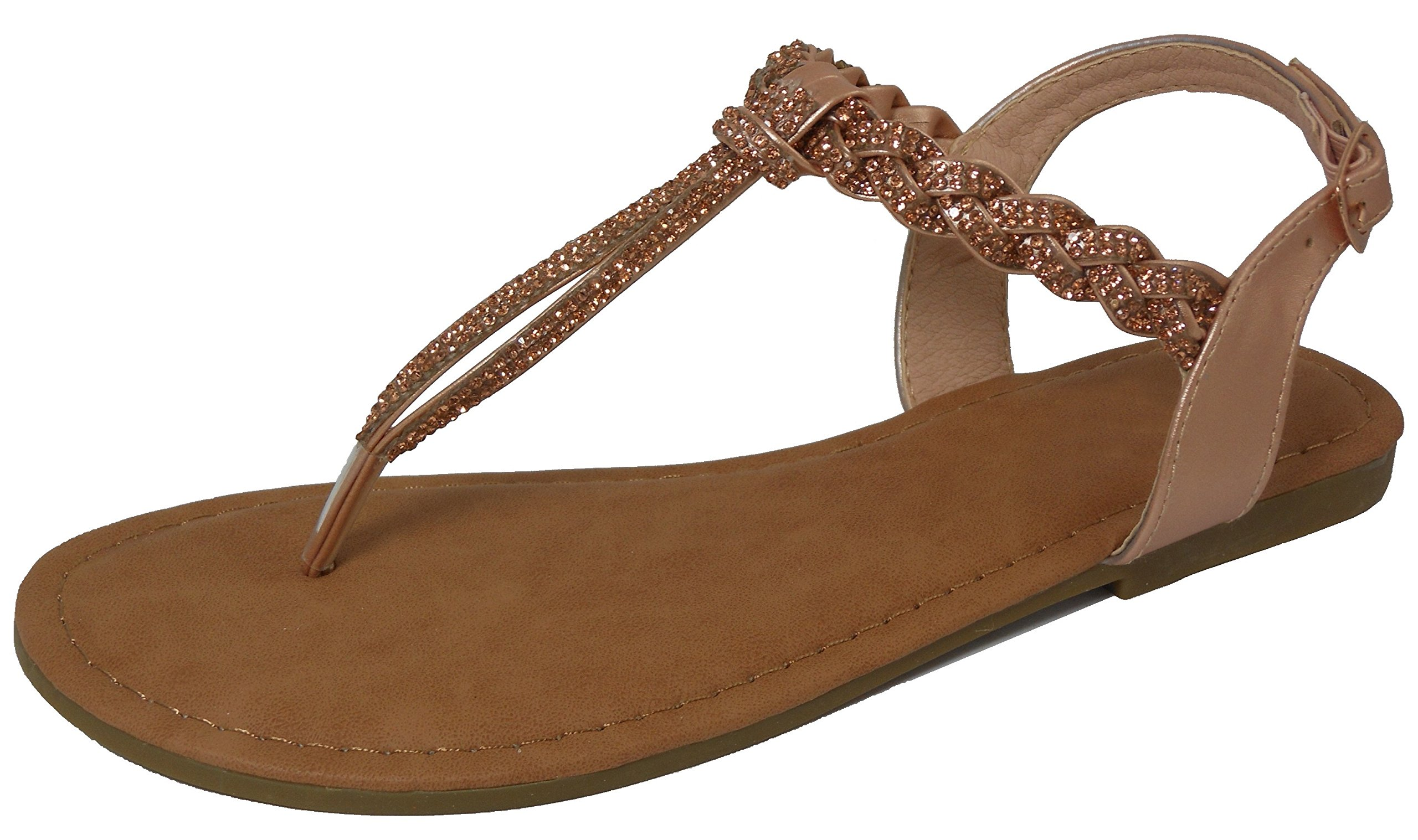 9dfccd68104 Cambridge Select Women s Open Toe T-Strap Thong Braided Strappy Crystal  Rhinestone Slingback Flat Sandal